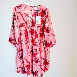 JUNAROSE HIGH LOW BLOUSE .SIZE 14.COLOR CORAL